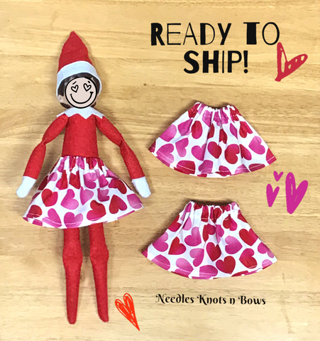 Valentine Hearts Elf Shelf Skirt, Elf Shelf Skirt, Christmas Elf Doll Skirt, Barbie Skirt
