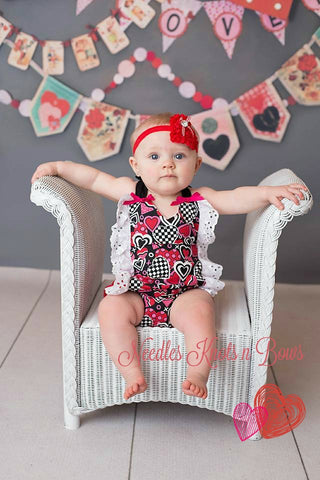 Girls Valentines Day Romper, Baby Girls First Valentines Day Outfit, Girls Rompers, Valentines Romper