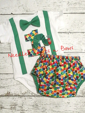 Boys Very Hungry Caterpillar Birthday Outfit, Boys First Birthday Very Hungry Caterpillar Outfit
