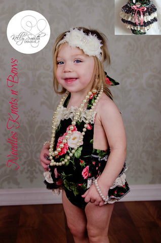Girls Vintage Shabby Chic Rose Romper, Baby Girls Vintage Photo Shoot Outfit, Coming Home Outfit