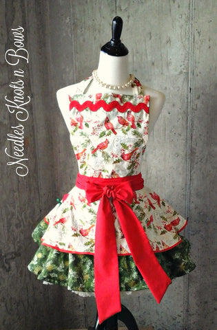 Womens Christmas Apron, Cardinal & Holly, Aprons for Women, Holiday Apron