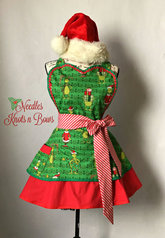 Womens Grinch Apron, Womens Christmas Apron, Aprons, Womens Flirty Apron