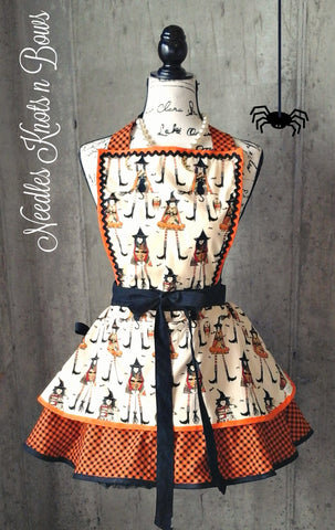 Halloween Witch Apron, Womens Witch Apron, Womens Aprons, Fall, Flirty Apron, Halloween Aprons