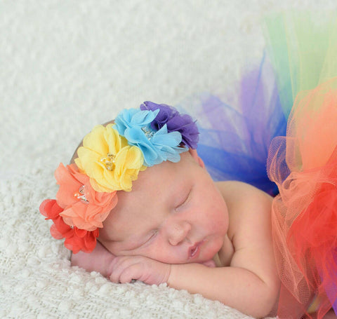 Rainbow Flower Headband, Girls Headbands, Girls Accessories, Rainbow Headband
