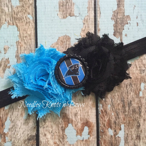 Carolina Panthers Headband,  Panthers Shabby Chic Headband, Football Headband