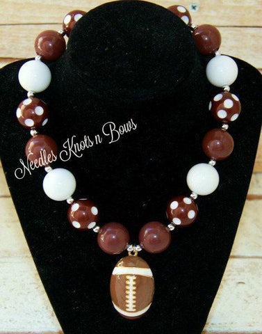 Football Necklace, Football Chunky Bead Bubblegum Necklace, Girls Jewelry, Womens Football Necklace