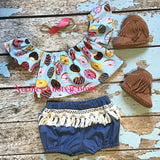 Girls Donut Print Crop Top, Boho Off The Shoulder Crop Top, Cold Shoulder Crop Top