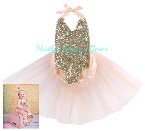 Girls Sequin Tulle Birthday Romper, Baby Girls Pink & Gold Sequin Birthday Romper, Girls First Birthday Outfit