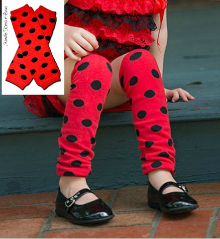Red with Black Polka Dot Legwarmers, Lady Bug Legwarmers, Costume Accessory, Dance, Crawlers, Toddlers