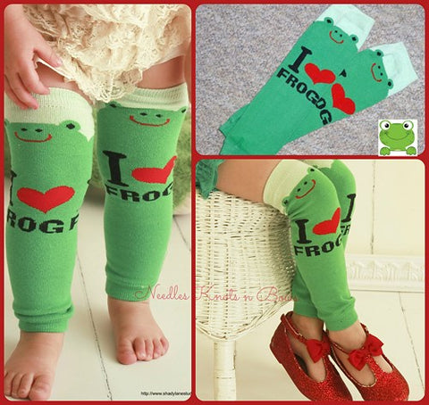 Green Frog print Legwarmers, Girls, Boys, Toddlers, Infants, Babies