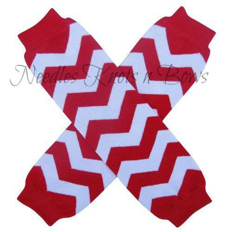 Red and White Chevron Legwarmers, Girls Legwarmers, Toddlers, Infants