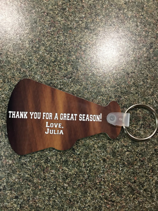 Personalized Custom Photo Megaphone Shaped Keychain Double Sided
