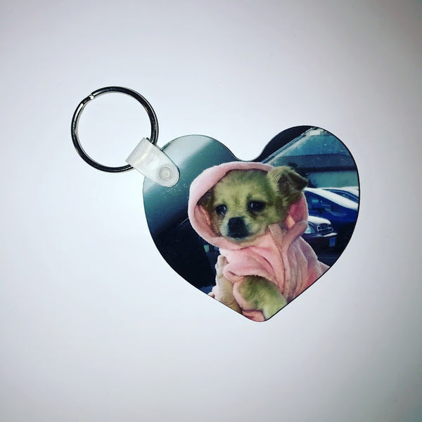Personalized Custom Photo Heart Shaped Keychain Double Sided