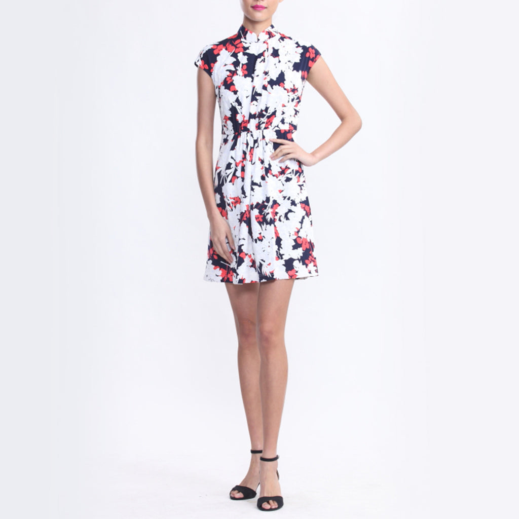 White, Navy And Orange Floral Print Jersey Dress With Gathers At Waist