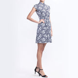 Navy And White Floral Print Jersey Dress With Gathers At Waist