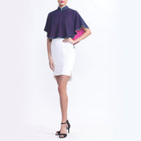 Navy And Fuchsia Contrasting Colors Ruffle Cape