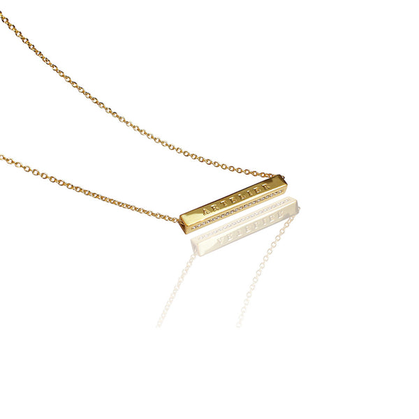 24K Gold Plated Brass Crystal Pendant