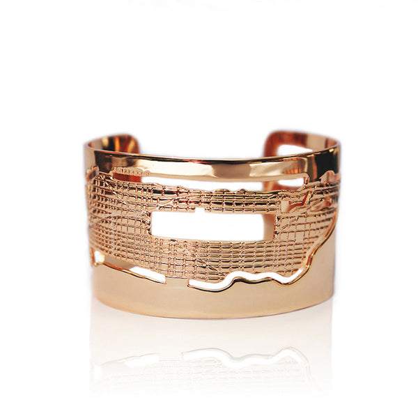 24K Rose Gold Plated Brass Manhattan Cuff