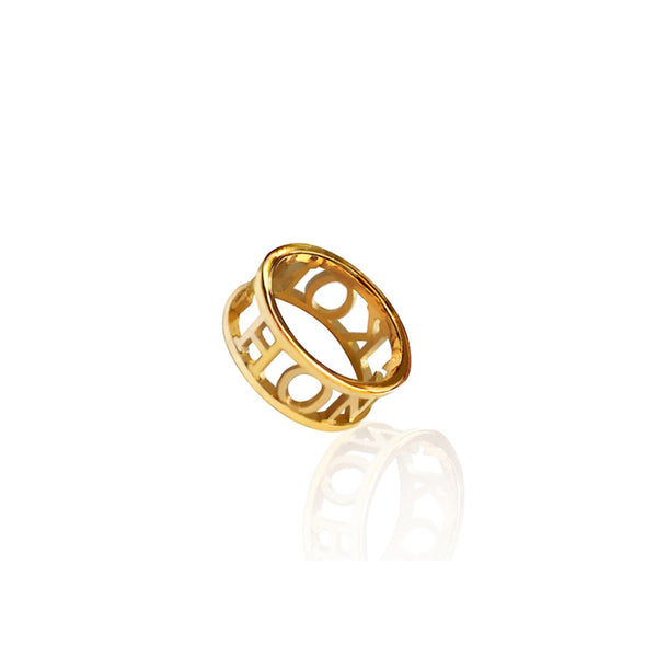 24K Gold Plated Brass Compass Ring