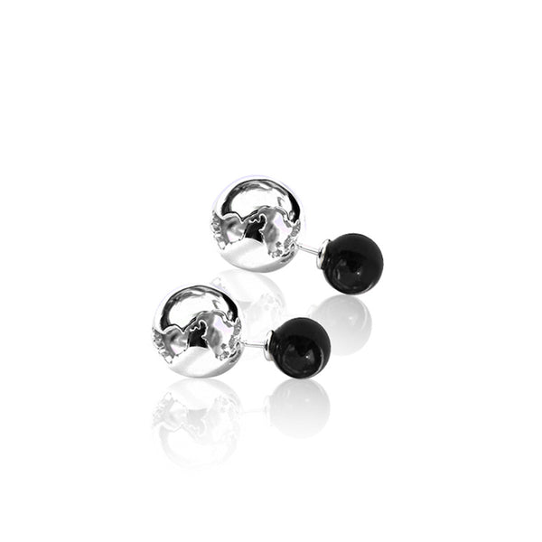 Silver With Black Pearls World Earring