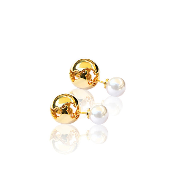 24K Gold Plated Brass With White Pearls World Earring