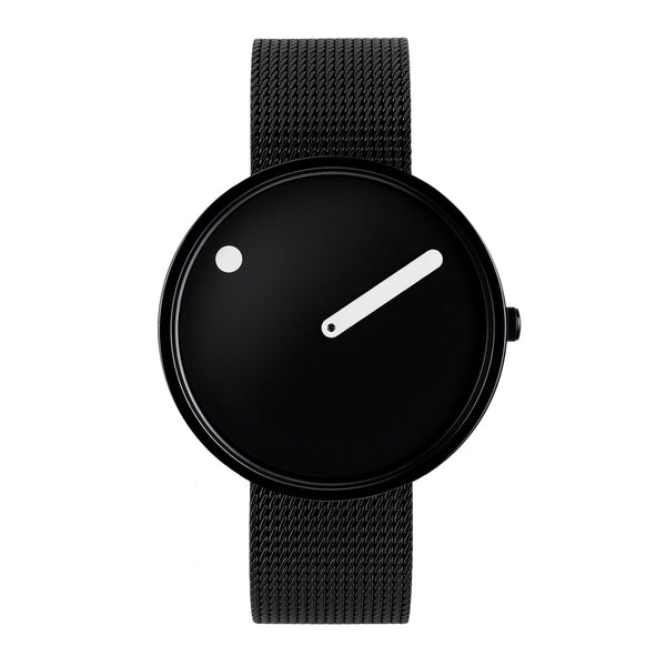 Picto - Black Dial, Polished Black Bezel, Matt Black Mesh Band, 40mm