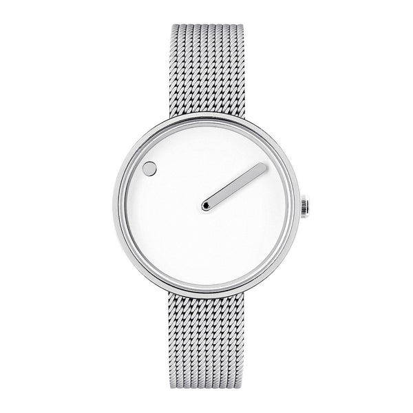Picto - White Dial, Polished Black Bezel, Matt Steel Mesh Band, 30mm