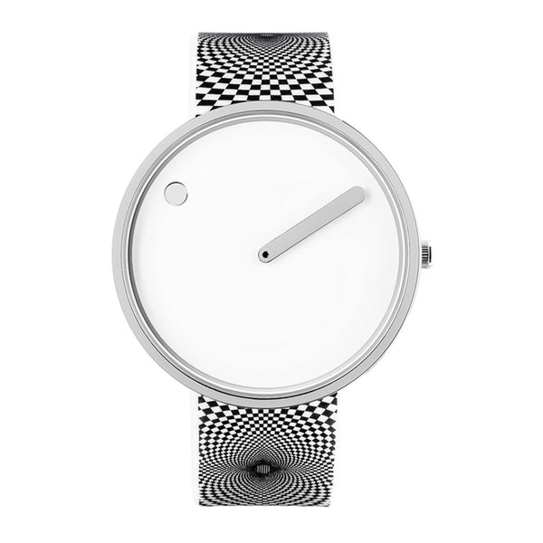 Picto - White/Steel Dial, Graphic Strap, 40 mm