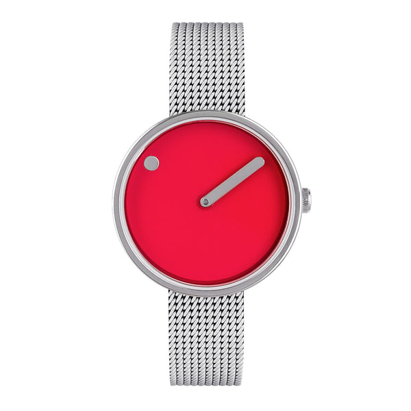 Picto - Red Dial, Polished Steel Bezel, Matt Steel Mesh Band, 30mm