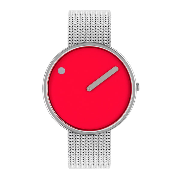 Picto - Red Dial, Polished Steel Bezel, Matt Steel Mesh Band, 40mm