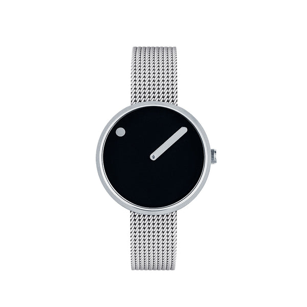 Picto - Black Dial, Polished Steel Bezel, Matt Steel Mesh Band, 30mm