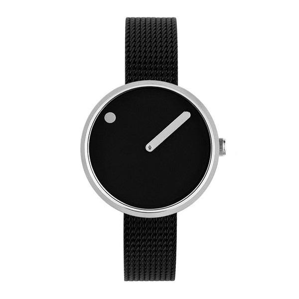 Picto - Black Dial, Polished Steel Bezel, Matt Black Mesh Band, 30mm