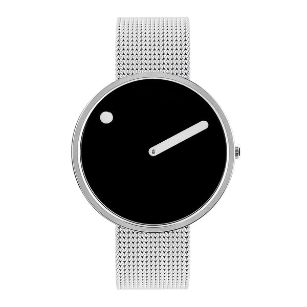 Picto - Black Dial, Polished Steel Bezel, Matt Steel Mesh Band, 40mm