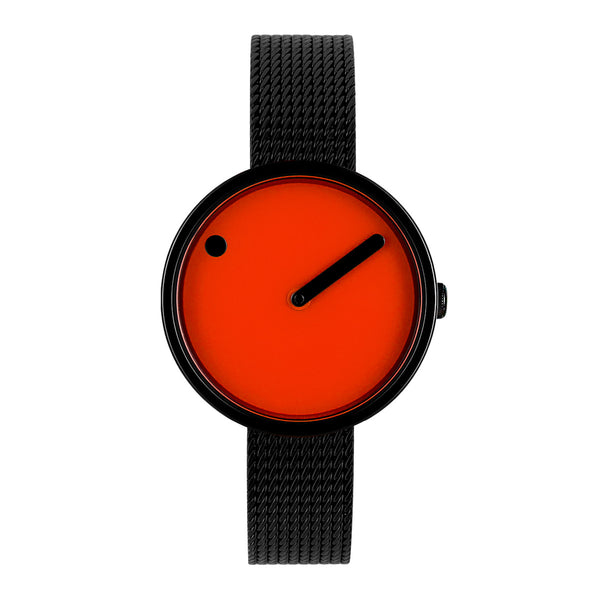 Picto - Orange Dial, Polished Black Bezel, Matt Black Mesh Band, 30mm