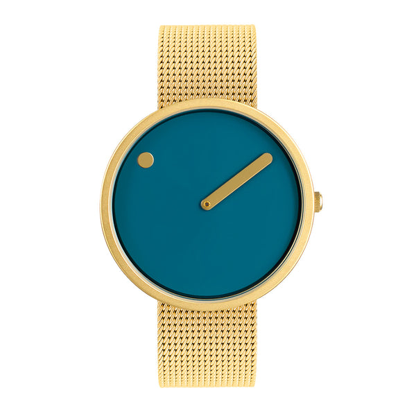 Picto - Dusty Blue Dial, Matt Gold Bezel, Matt Gold Mesh Band, 40mm