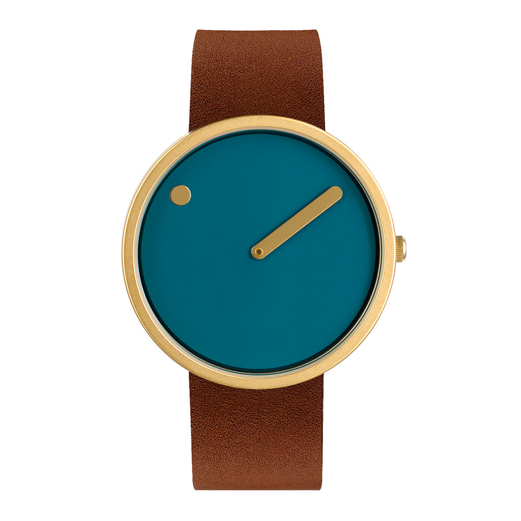 Picto - IP Gold, Dusty Blue Dial, Dark Brown Strap, 40 mm - Secoo