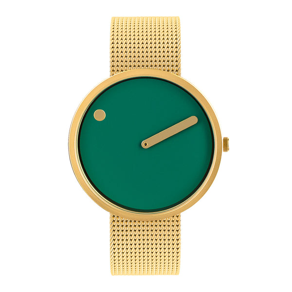 Picto - Dusty Green Dial, Matt Gold Bezel, Matt Gold Mesh Band, 40mm