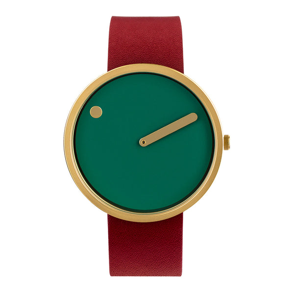 Picto - IP Gold, Dusty Blue Green Dial, Red Strap, 40 mm