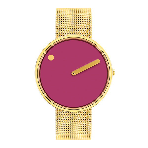 Picto - Pink Dial, Matt Gold Bezel, Matt Gold Mesh Band, 40mm