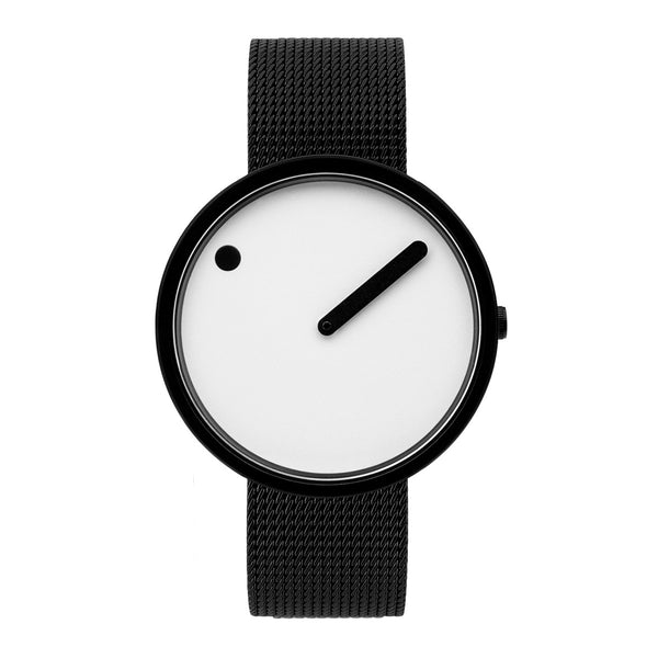 Picto - White Dial, Matt Black Bezel, Matt Black Mesh Band, 40mm