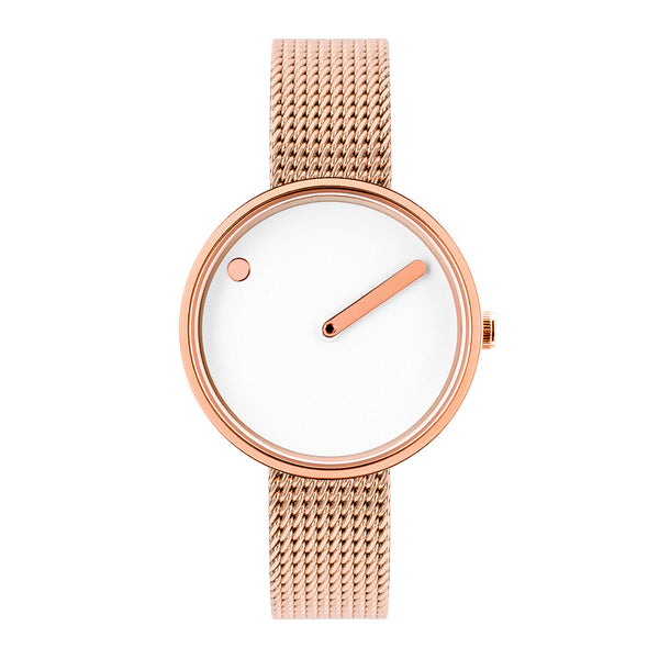 Picto - White Dial, Polished Rose Gold Bezel, Matt Rose Gold Mesh Band, 30mm