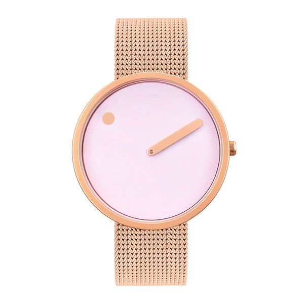 Picto - Douche Pink Dial, Matt Rose Gold Bezel, Matt Rose Gold Mesh Band, 40mm