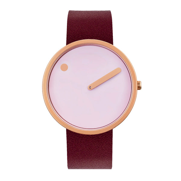 Picto - Douche Pink Dial, Matt Rose Gold Bezel, Burgundy Red Leather strap, 40mm