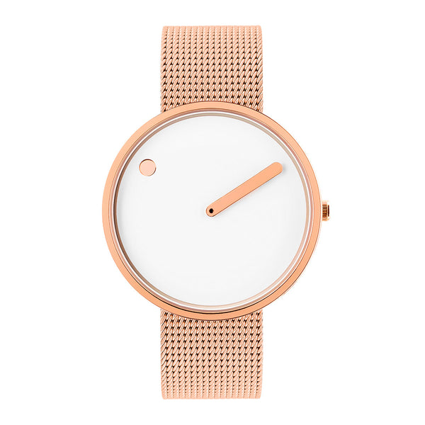 Picto - White Dial, Polished Rose Gold Bezel, Matt Rose Gold Mesh Band, 40mm