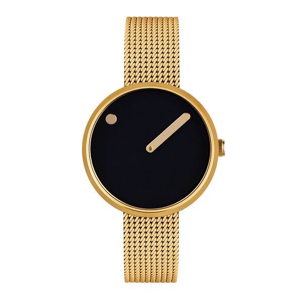 Picto - Black Dial, Polished Gold Bezel, Matt Gold Mesh Band, 30mm