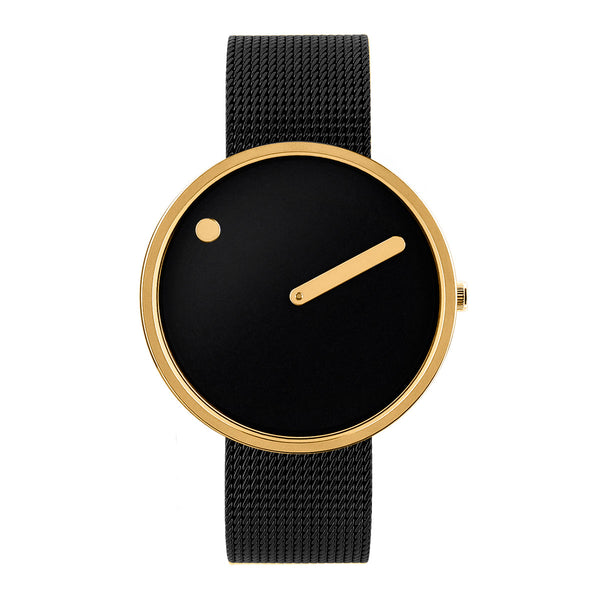 Picto - Black Dial, Polished Gold Bezel, Matt Black Mesh Band, 40mm