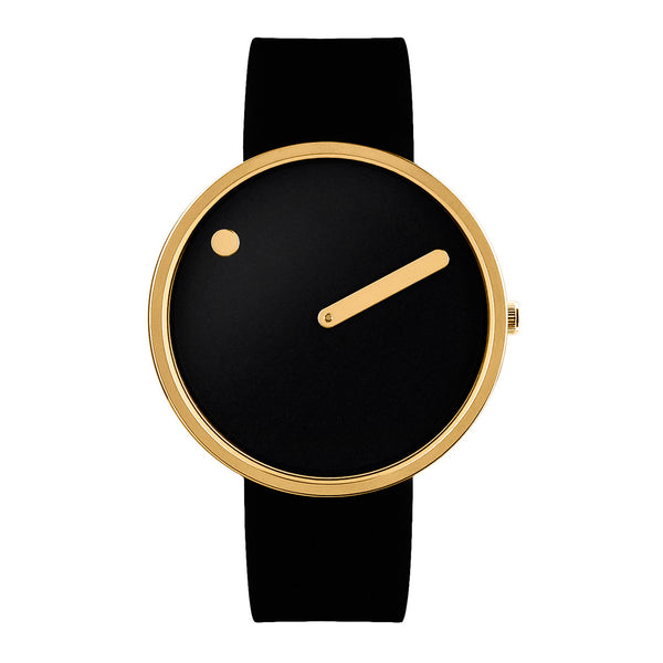 Picto - IP Rose Gold, Black Dial, Black Strap, 40 mm - Secoo