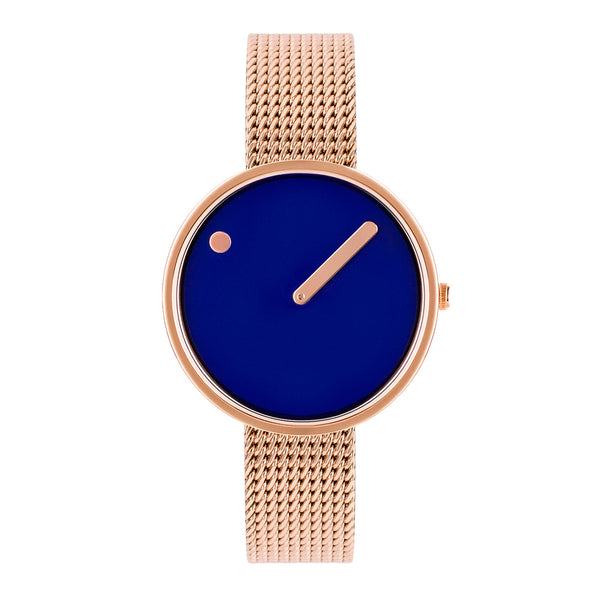 Picto - Blue Dial, Polished Rose Gold Bezel, Matt Rose Gold Mesh Band, 30mm
