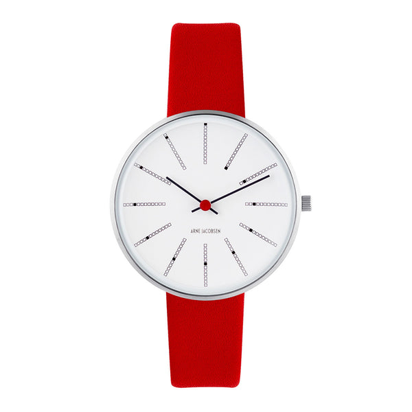 Bankers - White Dial, Red Strap, 34 mm