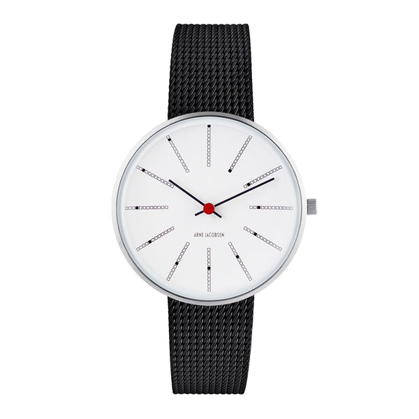 Bankers - White Dial, Black Mesh Band, 34 mm